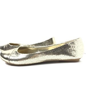 Kenneth Cole Reaction Gold Sparkle Tone Flats 9.5M